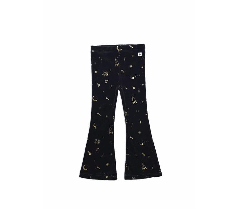 Ammehoela velvet flared legging black gold