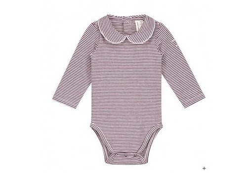 Gray label Gray Label Romper collar streep plum/cream