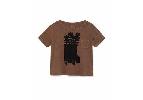 Bobo Choses kids t-shirt flower bus brown