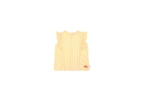 Tiny Cottons Tiny Cottons ruffle blouse check off white-canary
