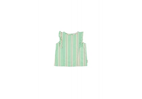 Tiny Cottons Tiny Cottons ruffles blouse retro stripes emerald-cream