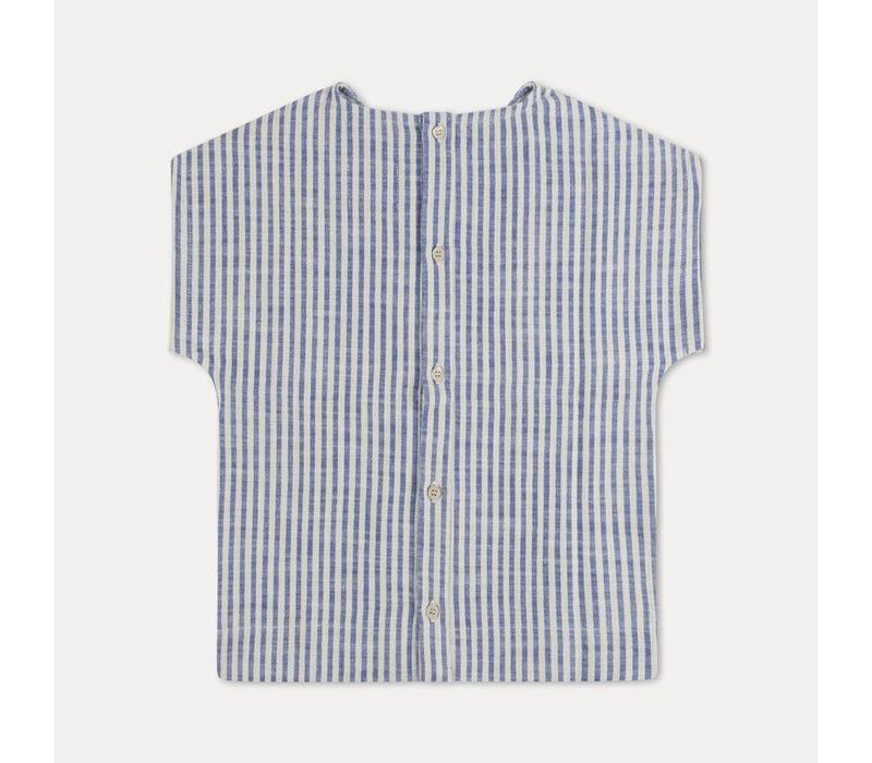 Repose ams t-shirt woven sand blue stripe
