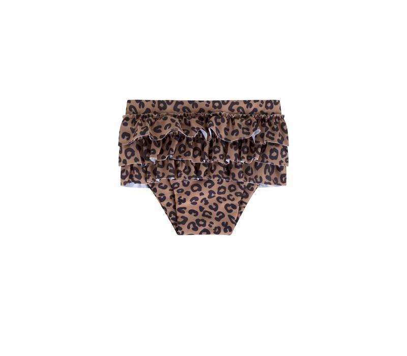 Maed for mini zwembroek ruffles brown leopard
