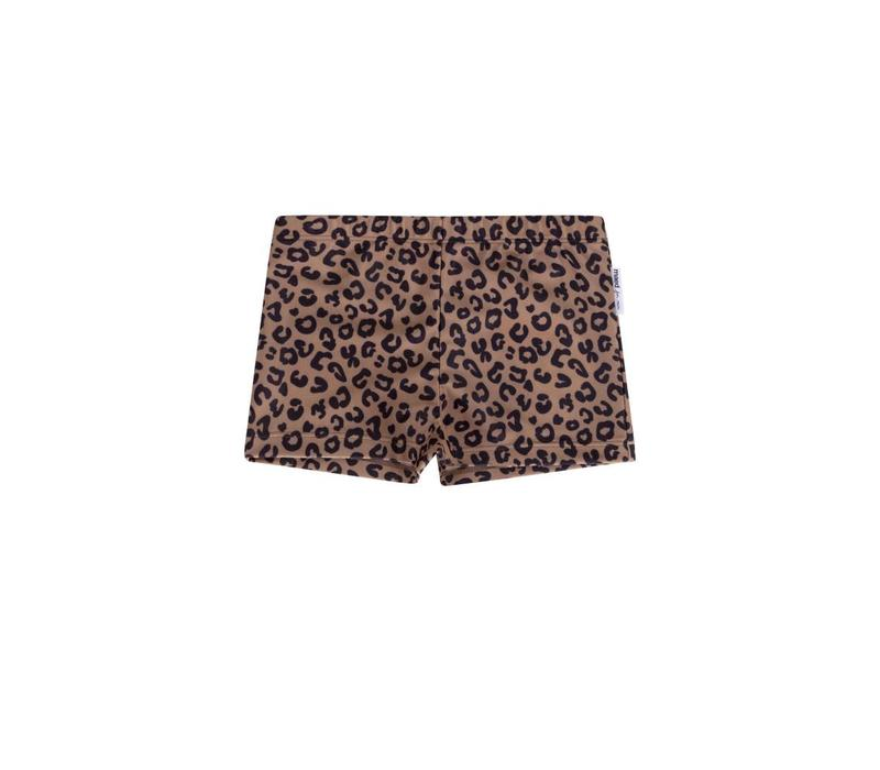 Maed for mini zwembroek boys brown leopard