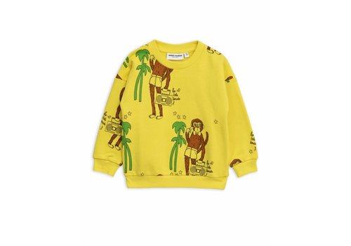 Mini Rodini Mini Rodini sweatshirt cool monkey aop yellow