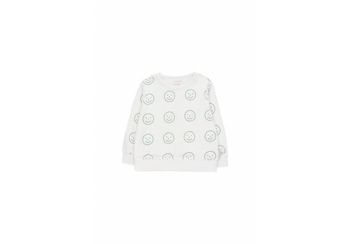 Tiny Cottons Tiny Cottons sweater happy face off white-green