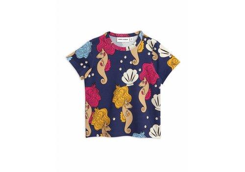 Mini Rodini Mini Rodini t-shirt seahorse blue aop