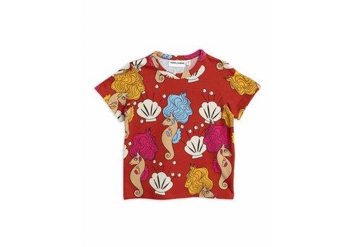 Mini Rodini Mini Rodini t-shirt seahorse red aop