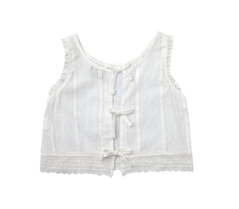 Tocoto vintage top plumeti white with lace
