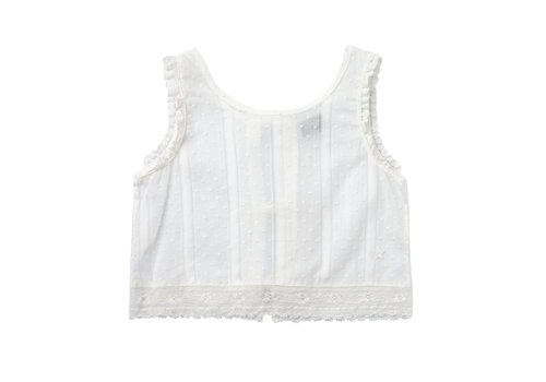 Tocoto vintage Tocoto vintage top plumeti white with lace