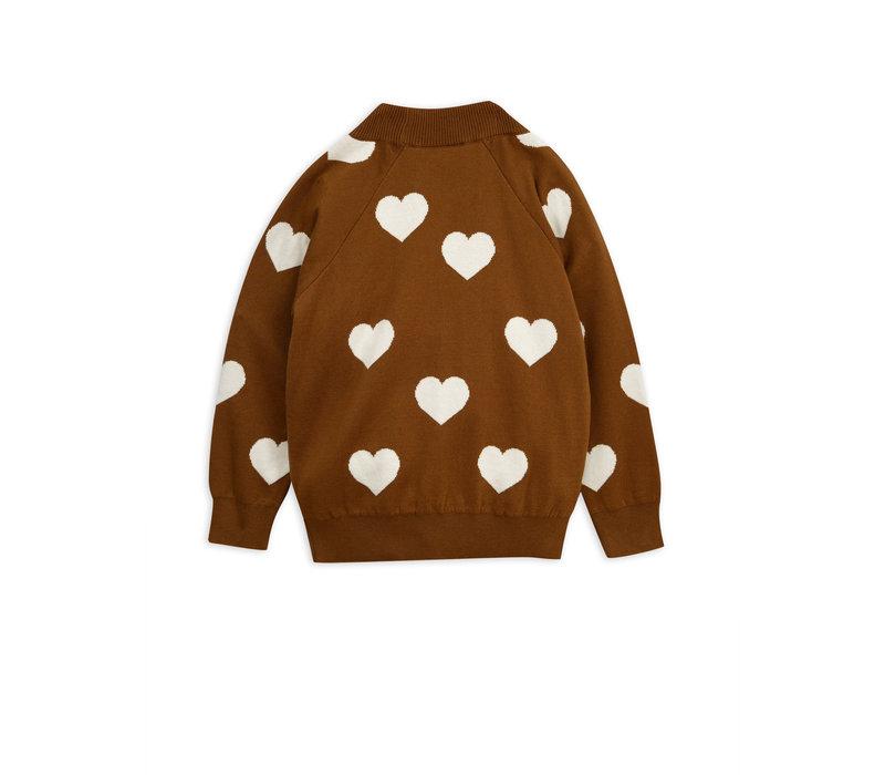 Mini Rodini sweater hartjes bruin