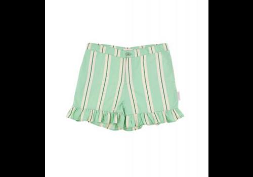 Tiny Cottons Tiny Cottons frills short retro stripes emerald-cream