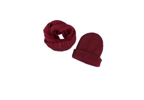 Ammehoela Ammehoela sjaal + muts bordeaux