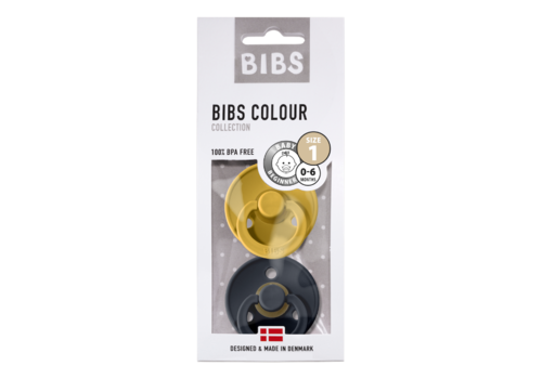 Bibs Bibs fopspeen set van 2 moustard-smoke T1