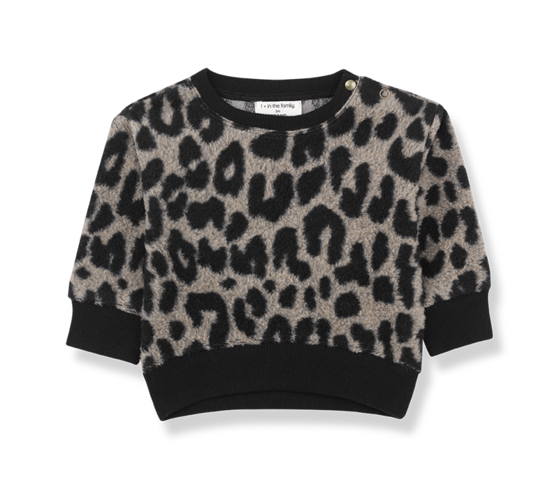 1 + in the family sweater manitoba leopard zwart