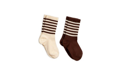 Mini Rodini Mini Rodini sokken 2-pack brown
