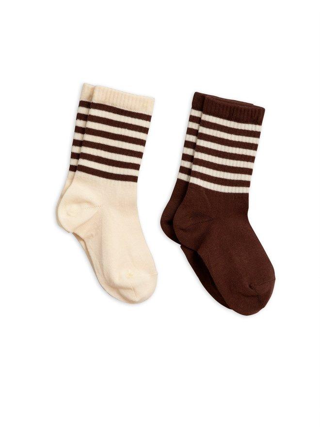 Mini Rodini sokken 2-pack brown