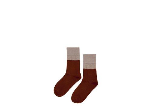 Mingo Mingo sokken taupe-bitter chocolate