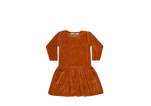 Mingo Mingo jurk velvet leather brown