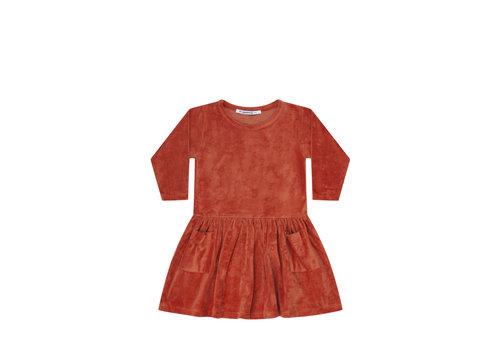 Mingo Mingo jurk velvet red wood