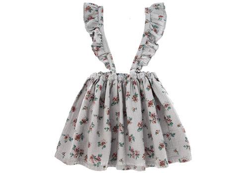 Tocoto vintage Tocoto vintage salopette jurk bloemen grijs