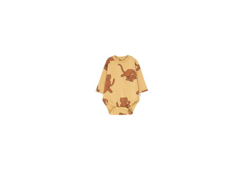 Tiny Cottons Tiny Cottons romper cats sand-brown