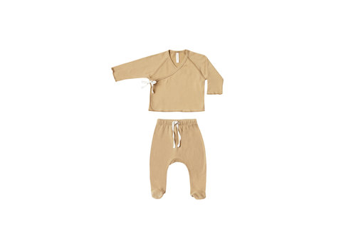 Quincy mae Quincy mae set kimono top footed pants honey