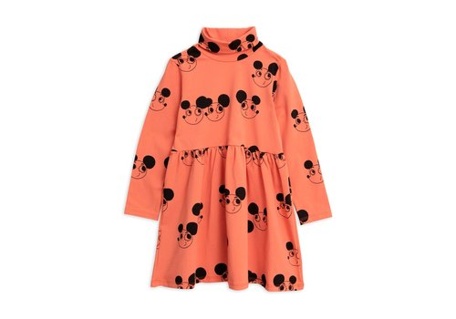 Mini Rodini Mini Rodini turtleneck jurk ritztratz red