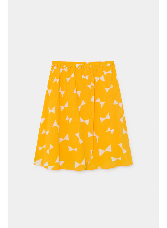 Bobo Choses kids all over bow wrap midi skirt spectra yellow