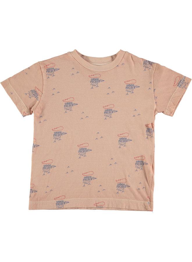 Bonmot t-shirt classic small woodpekers coral