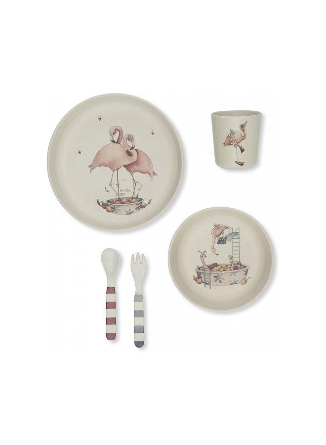 Konges slojd dinner set flamingo