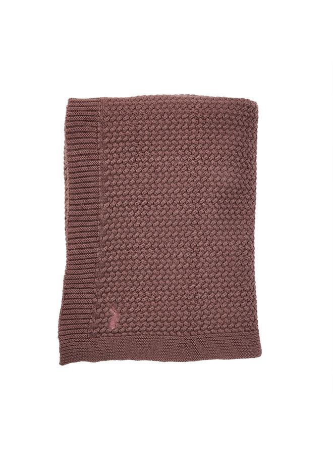 Mies & Co Soft knitted wieg deken rosewood