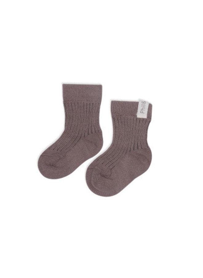 Phil & Phae ribbed baby socks heather