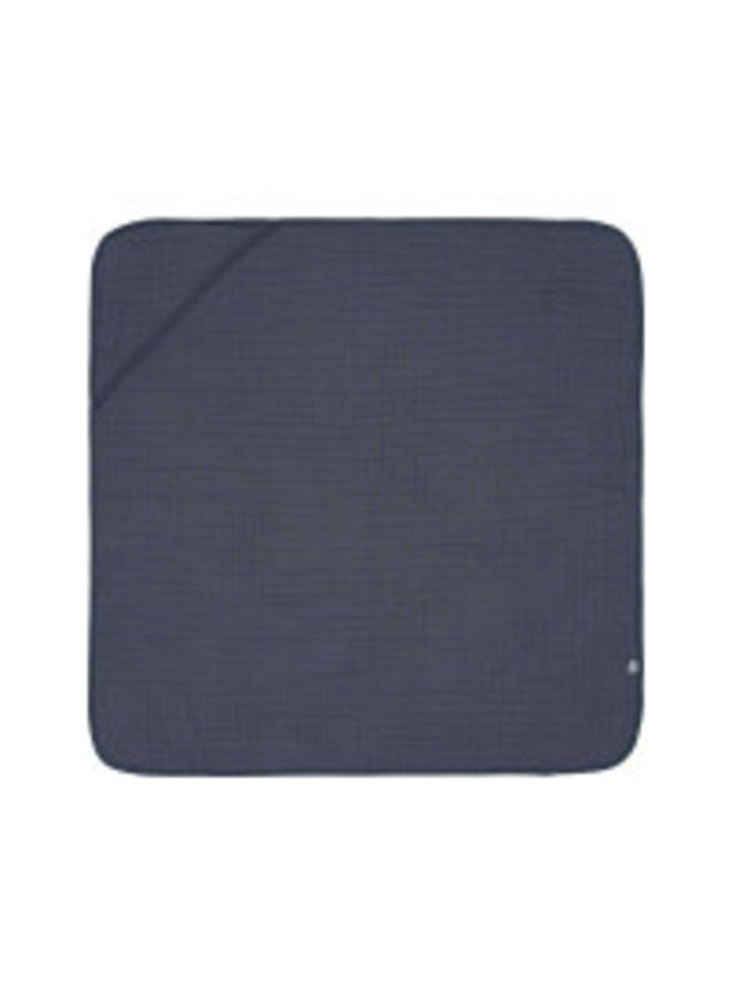 Lassig muslin hooded towel navy