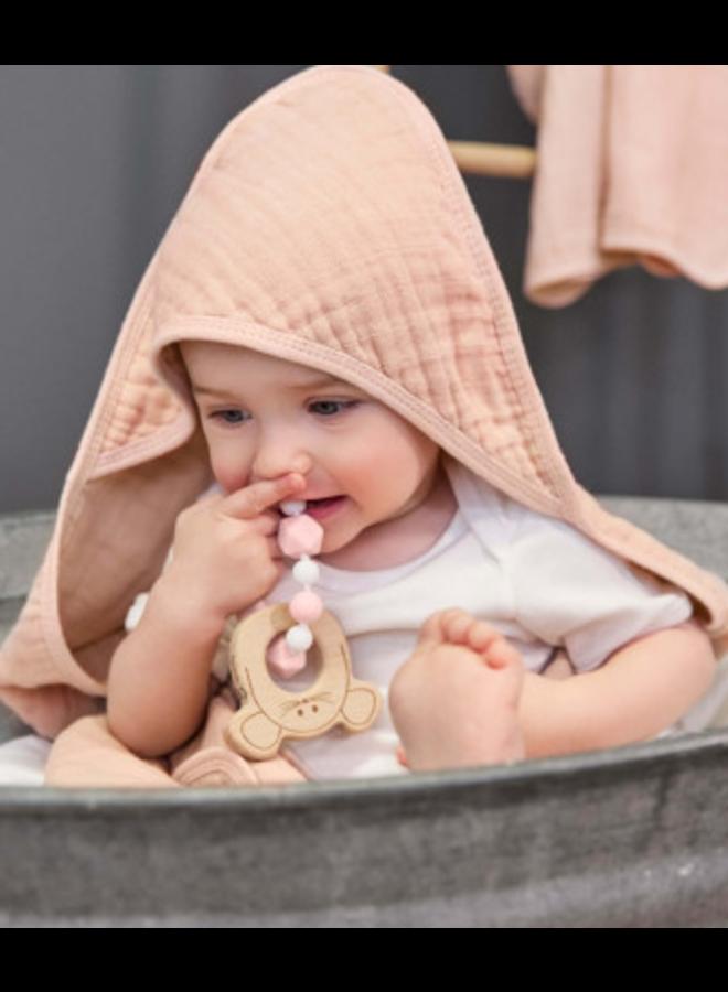 Lassig muslin hooded towel light pink