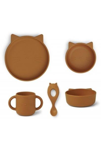 Liewood vivi silicone set cat mustard