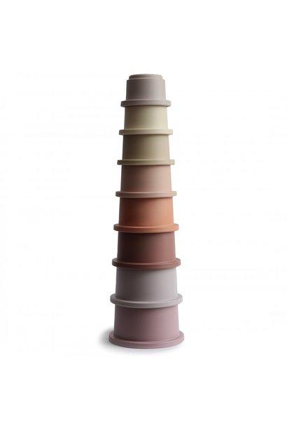 Mushie stapel toren pastel