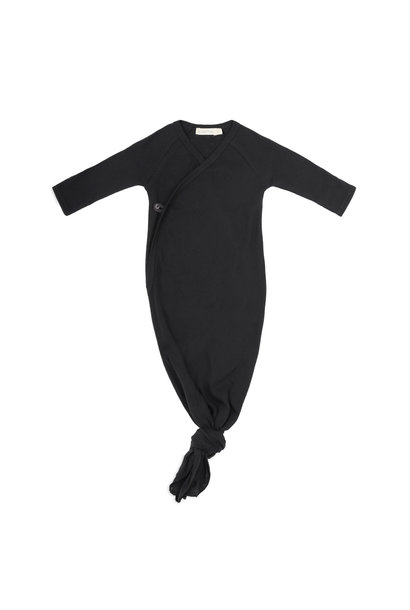 Phil & Phae knotted baby gown pointelle charcoal