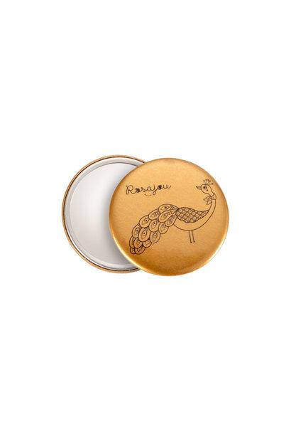 Rosajou pocket mirror goud peacok