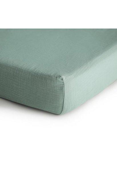 Mushie crib sheet roman green