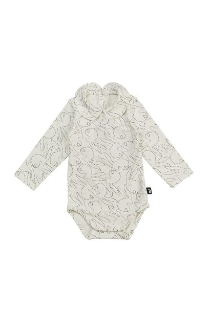 Mies & Co collar bodysuit longsleeve stitched bunny
