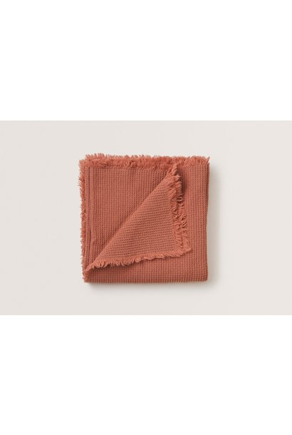 Garbo & Friends coral waffle cotton blanket