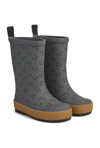 Liewood river rain boots panda stone grey