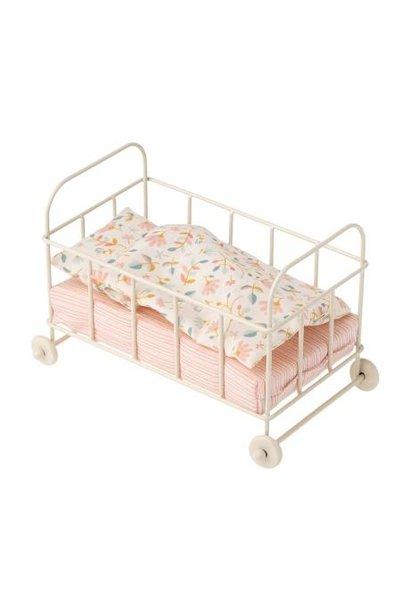 Maileg miniature metal baby bed micro