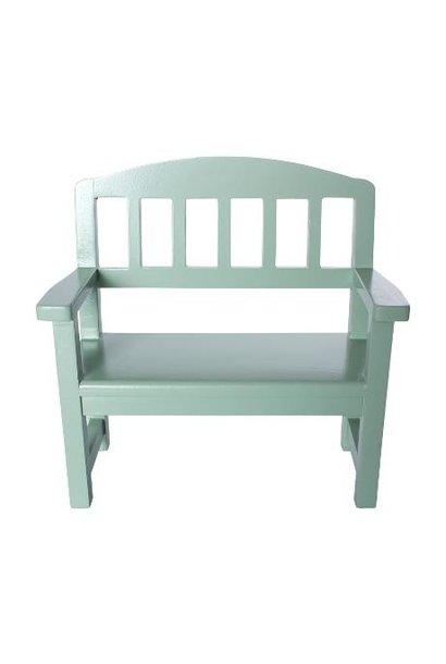 Maileg miniature wooden bench green