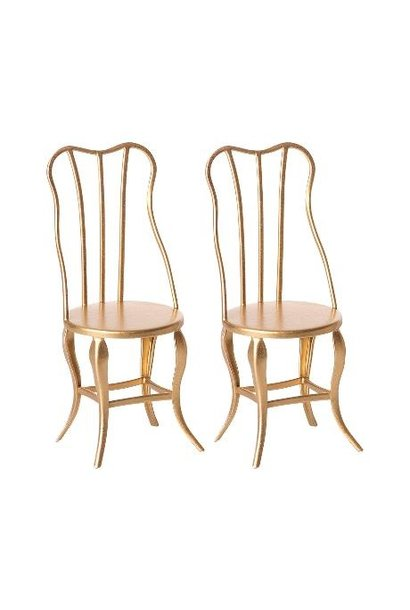 Maileg miniature vintage chair micro gold 2 pack