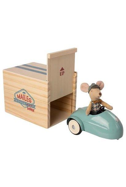 Maileg miniature mouse car garage blue