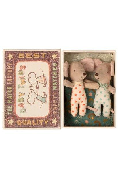 Maileg baby twin mice in matchbox