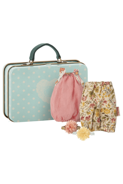 Maileg miniature suitcase with 2 dresses for girl
