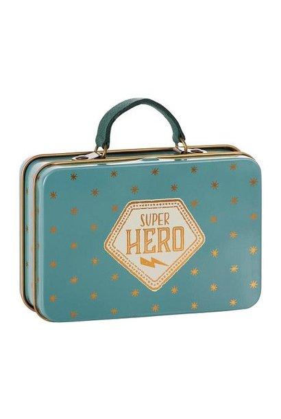 Maileg miniature metal suitcase blue gold stars